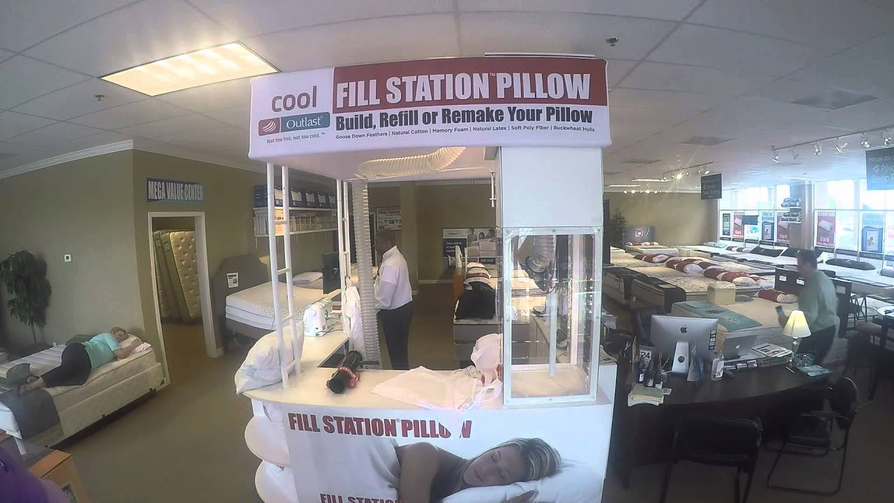 12afd64668c Re-Fluffing a customer s pillow for testing. Fill Station Pillow Kiosk