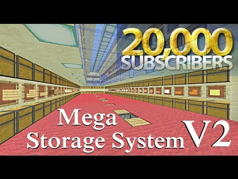 Minecraft Tutorial : 20k Special Mega Storage System V2 every Stackable item
