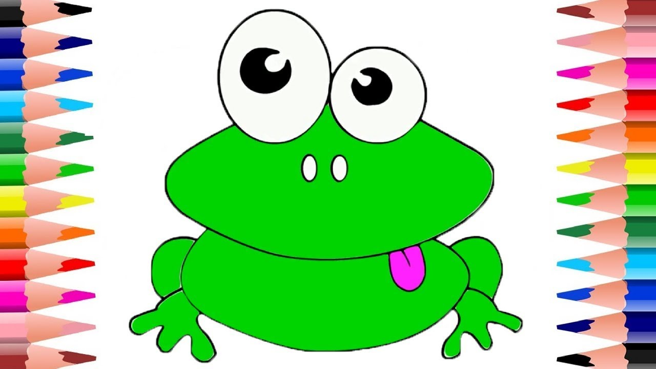 Frog Coloring Page | Learn Colors | Drawing and Art Colors for Kids ...