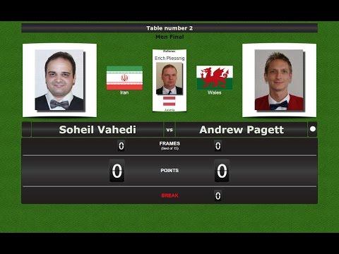 Snooker Men Final : Soheil Vahedi vs Andrew Pagett