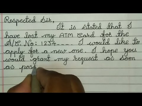 How To Write New ATM Card Request Letter //  New ATM Card Application In English