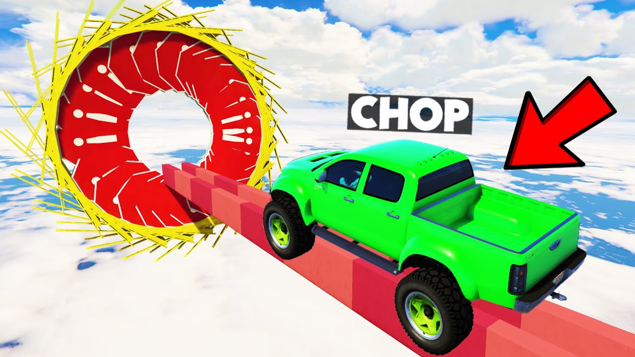 CHOP GOT STUCK IN 4x4 TRUCK PARKOUR RACE 🤣 GTA 5! (99.9% IMPOSSIBLE)
