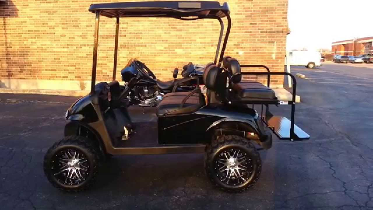 Triple black lifted rxv golf cart a arm lift custom seats street triple black lifted rxv golf cart a arm lift custom seats street light package much more youtube sciox Images