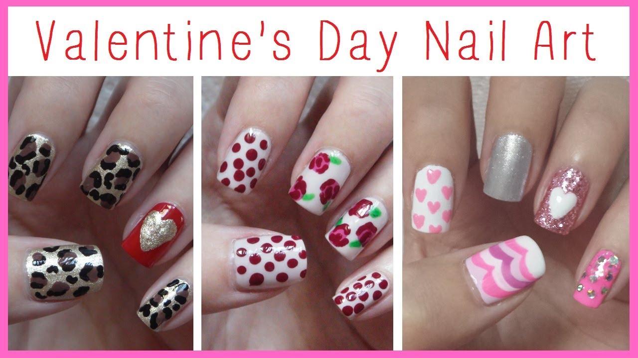 Valentine's Day Nail Art  Three Easy Designs!!! - YouTube