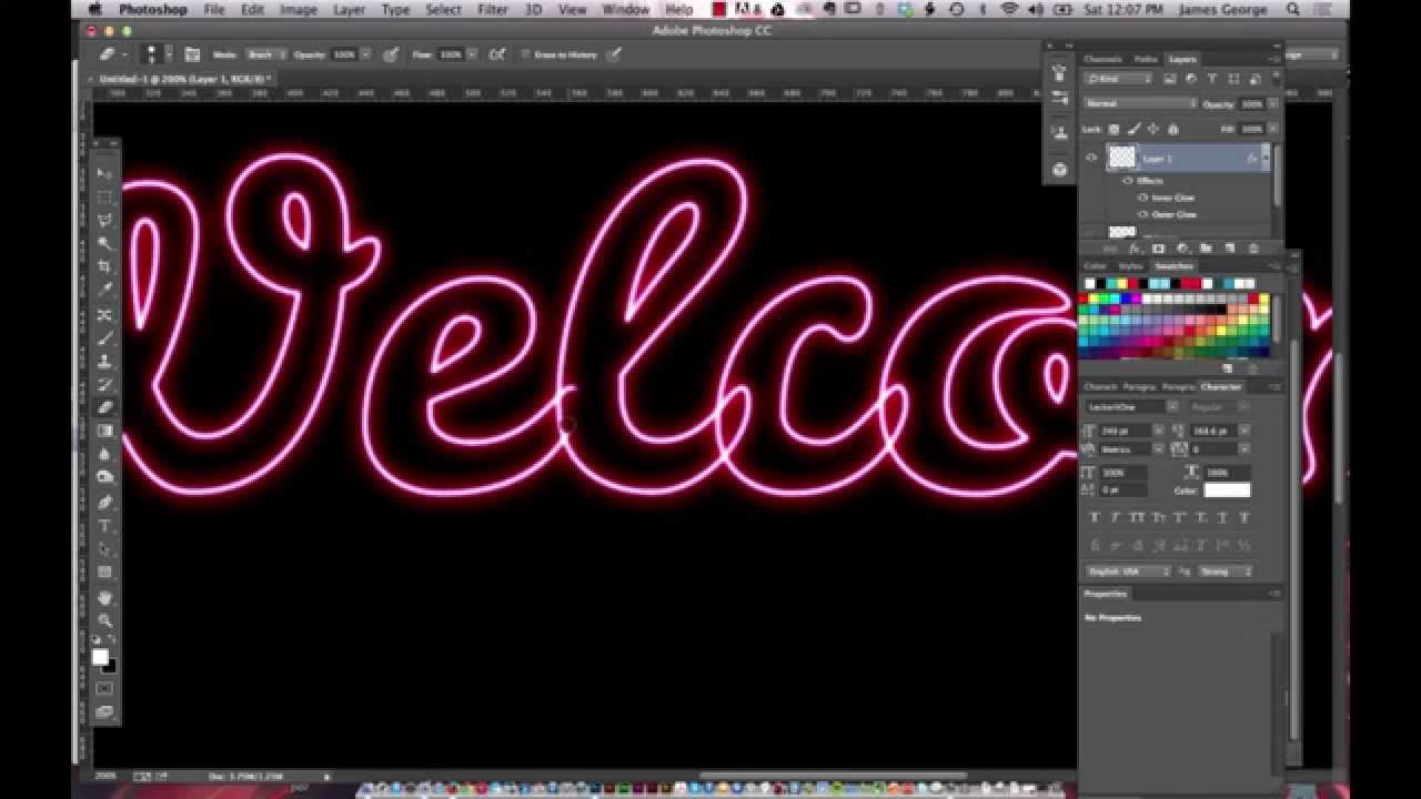 Create a neon outline effect in photoshop youtube baditri Image collections