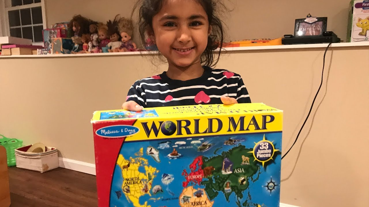 Aarna having fun with world map puzzle game melissa doug world aarna having fun with world map puzzle game melissa doug world map gumiabroncs Choice Image