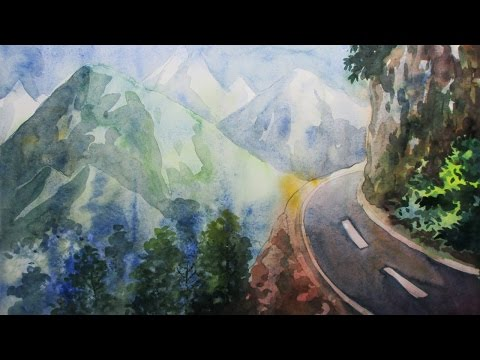 How to Paint A Mountain Landscape with Watercolor | Episode-3