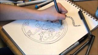 Steampunk Stopwatch: Copic time elapse drawing