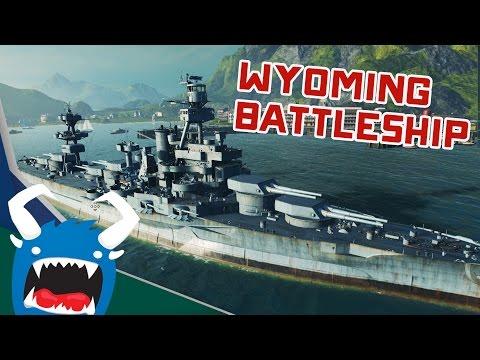 World of Warships Beta - Wyoming Class Battleship (Six Gun Barrage!)