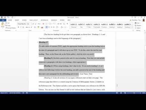 APA template in Microsoft Word 2016