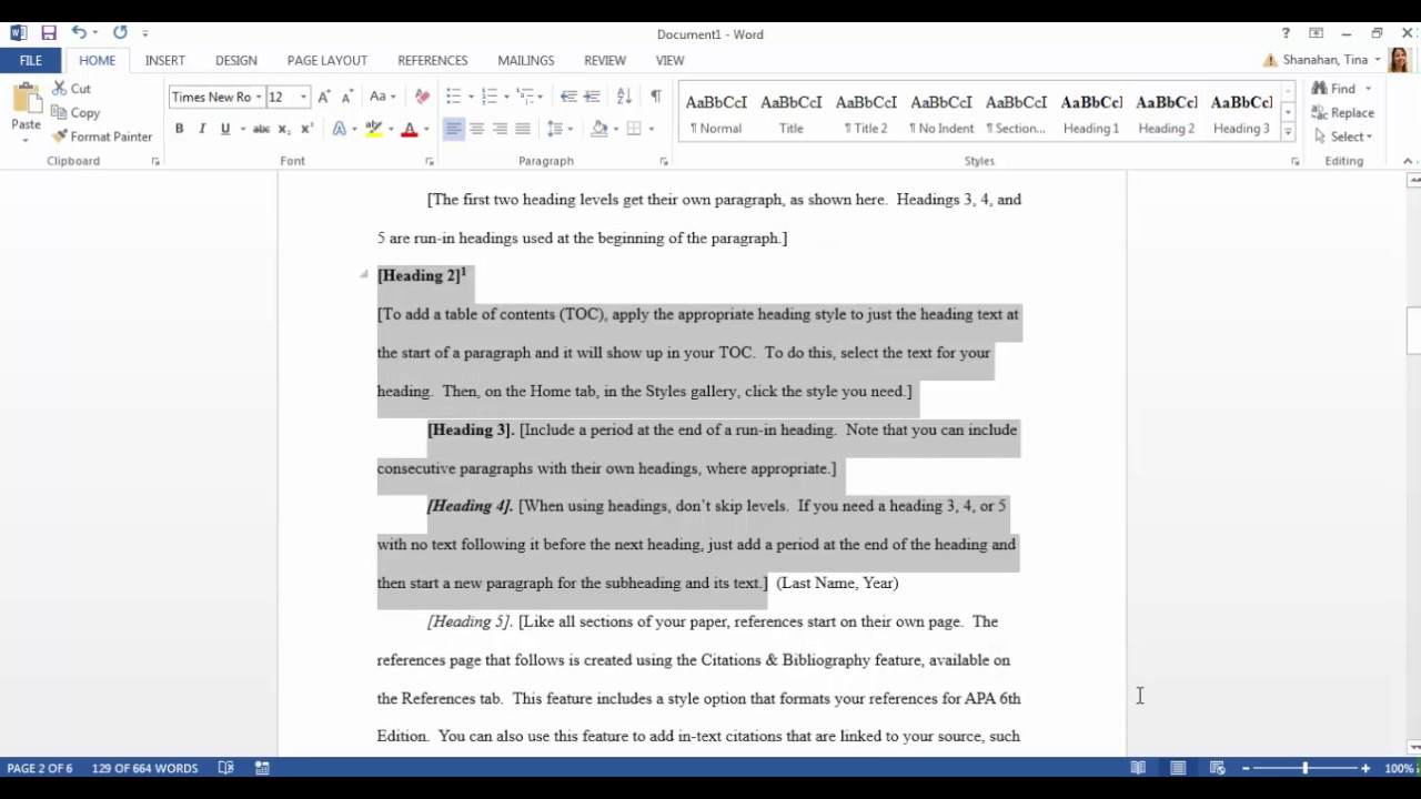 NORTON WRITE HOME APA Format Example Paper Domov