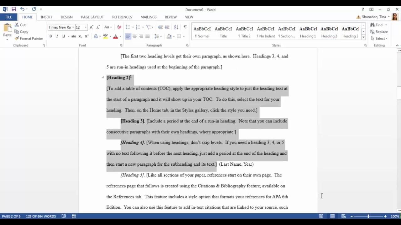 microsoft word apa format template