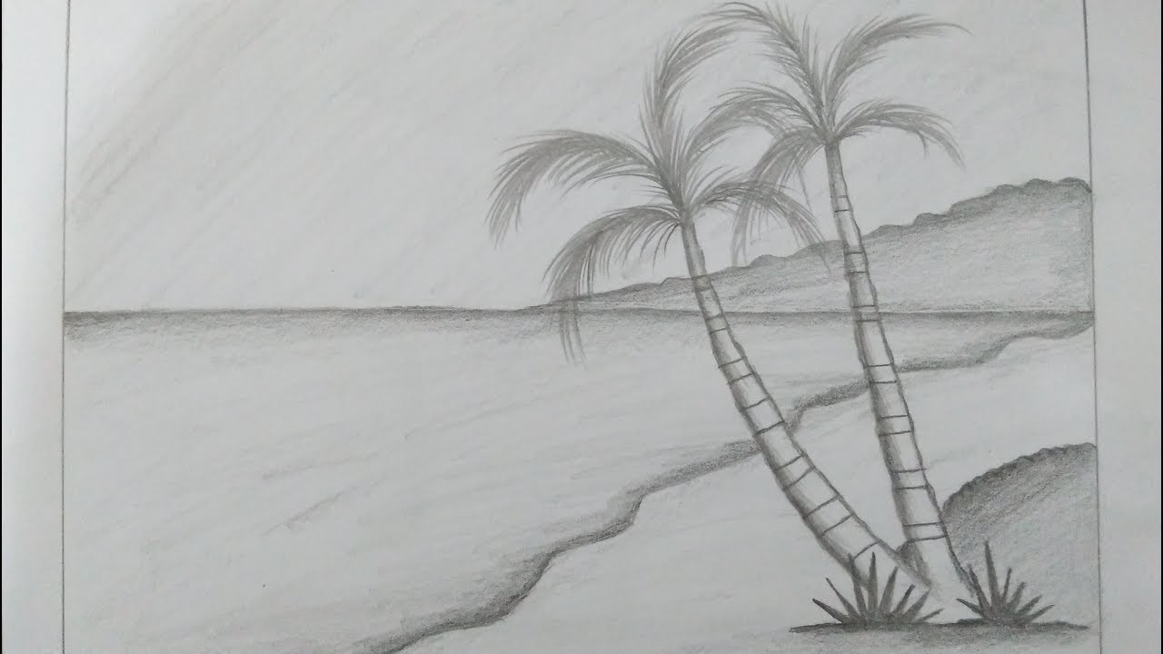 Gambar Sketsa Pemandangan Alam Kota Desa Pantai Laut