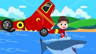 Red Super Car Ricky saves Little Ben from Flying Shark | Kids Cartoon Songs & Rhymes