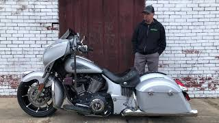 Indian Motorcycle Chieftain Custom with Fat Front Wheel, Air Ride, Center Stand, Intake and more.