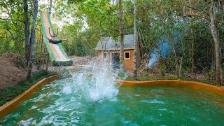 Building Water Slide To Swimming Pool Around Jungle Villa