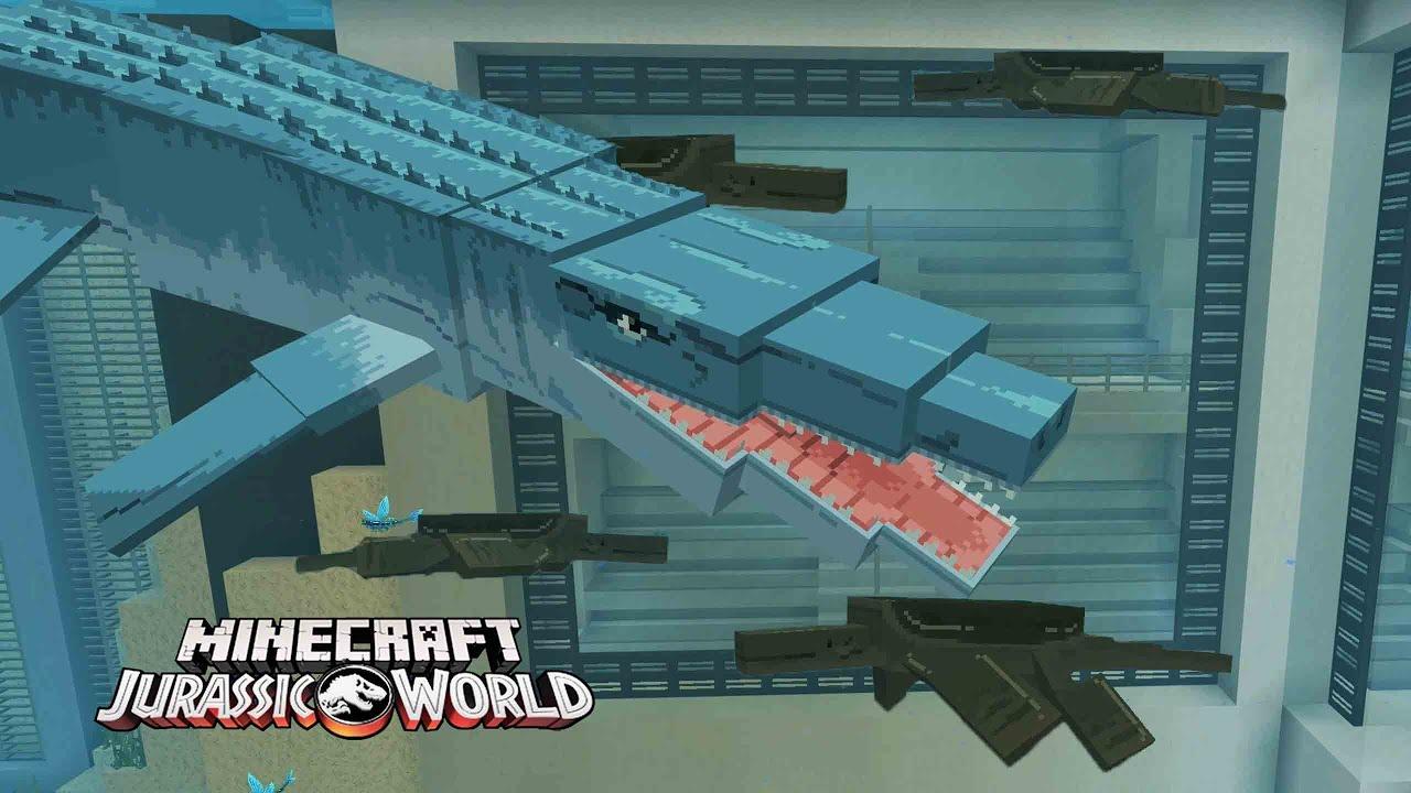 METIENDO DINOSAURIOS HIBRIDOS MARINOS CON EL MOSASAURUS!! JURASSIC WORLD DLC Minecraft