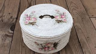 Tuna can decorated with rope and decoupage (eng sub)