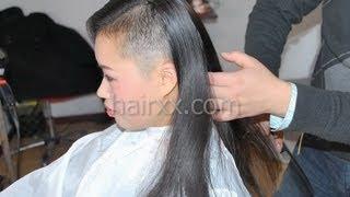 Repeat youtube video hairxx #014 half head shaved , bob ,violet short crop haircut
