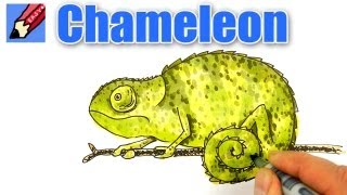 How to draw a Chameleon Real Easy