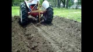 Making garden rows with a middle buster plow. 1949 8N Ford