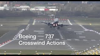 Boeing 737 Ryanair Crosswind actions during severe storm at Birmingham Airport
