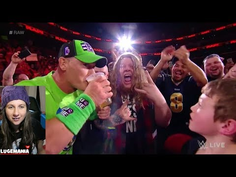 WWE Raw 3/12/18 John Cena drinks beer and challenges The Undertaker