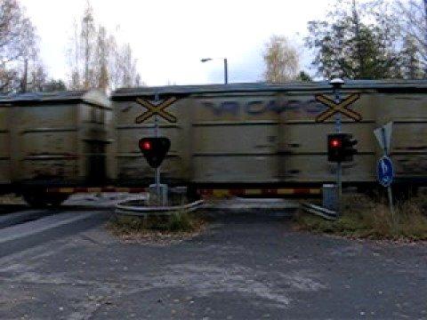 Finnish freight train T  3365 passed Eerola level crossing