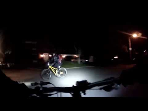 Night moutain biking ride Waterdown Ontario