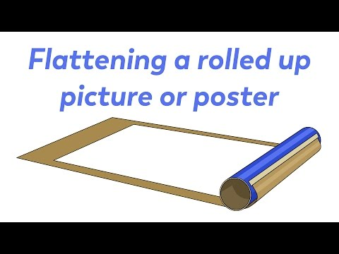 Flattening a curled poster or print.
