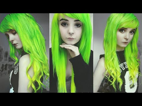 Hair Dye Tutorial For Lime Green Amp Yellow Ombre Kitti
