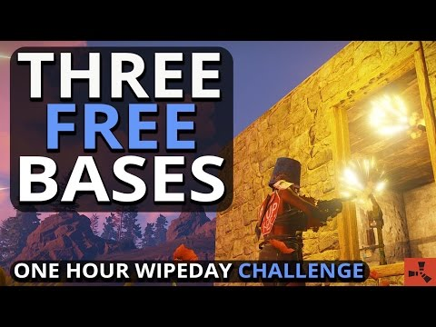 Three FREE Bases!! Rust One Hour Wipeday Challenge #1