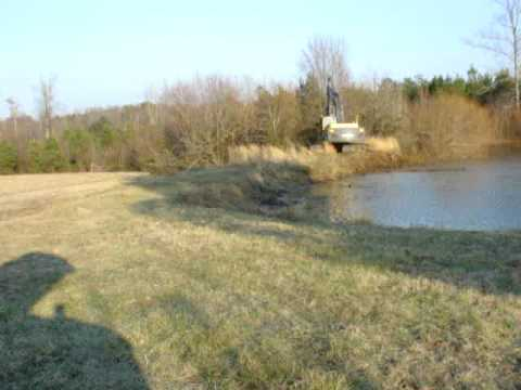 Pond dam clearing youtube for Sunfish in a backyard pond