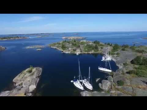 Långviksskär on Stockholm archipelago of Sweden. Aerial video from a Phantom 3 Pro UAV drone 4K UHD