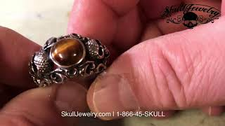 732 Details about  //'Tigers Eye/' Stainless Steel Skull Ring