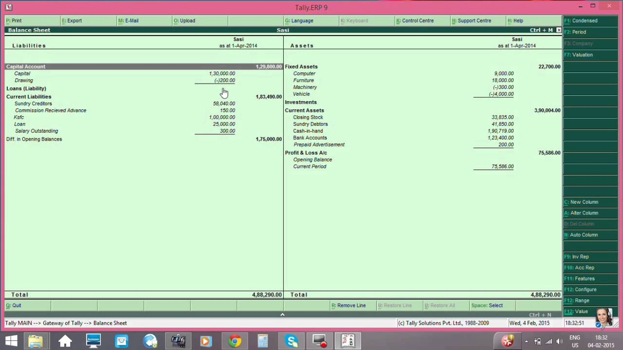 Tally Profit And Loss Account And Balance Sheet Youtube