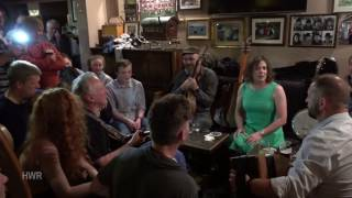 Session at Tigh Ruairi, Helen Flaherty singing, Craiceann Bodhrán Festival 2016