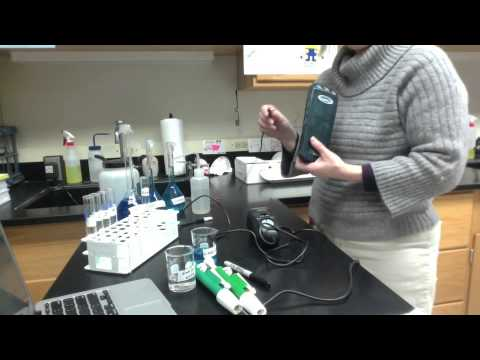 A lab experiment to determine the concentration of an unknown solution by colorimetry