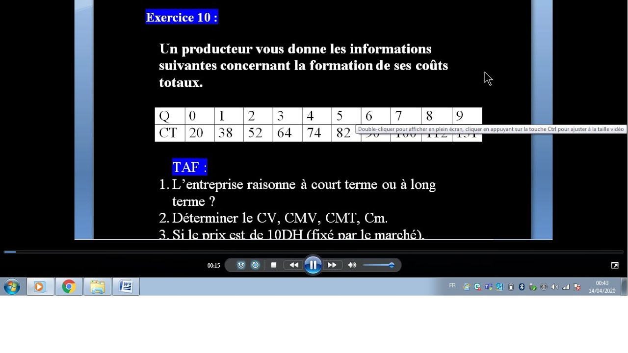 """TD Microéconomie EXERCICE 10 """" Fonction de coût : seuil de ..."""