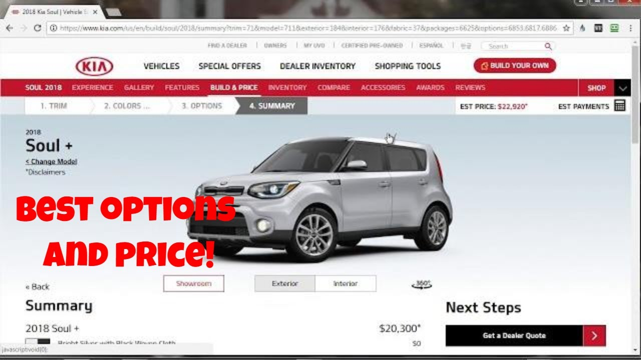 2018 Kia Soul   Build Your Own   Pricing And Options Overview