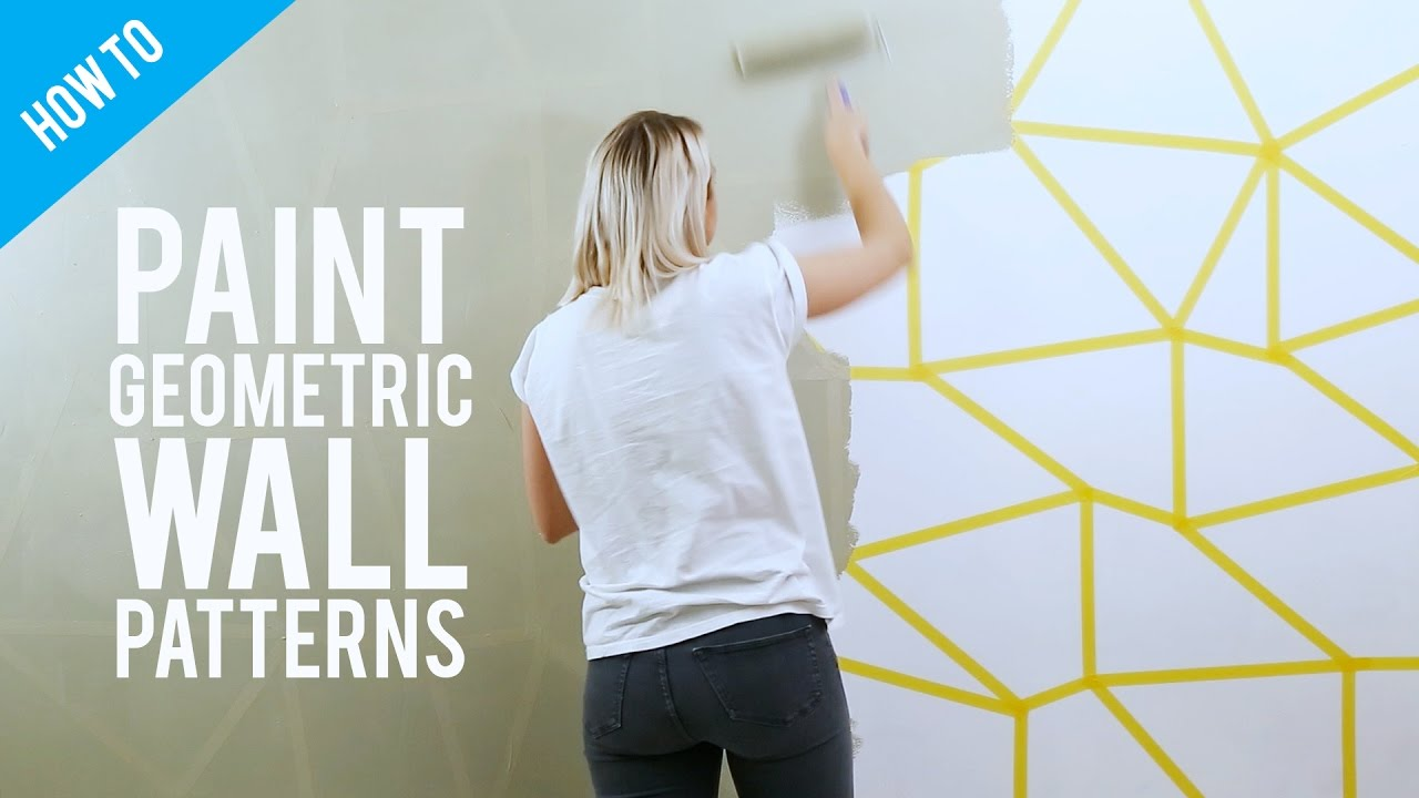DIY Painted Geometric Wall Decor YouTube - Wall designs pictures