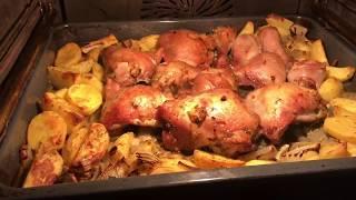350.  Куриные ножки с картофелем в духовке. Быстро и вкусно.