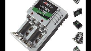 Обзор Charger 4 AA/AAA/9V/Ni-Mh/Ni-Cd Rechargeable Battery EU Plug S9
