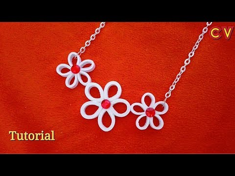 How to Make Quilling Paper Pendant / Paper Jewellery Making / Quilling Pendant / DIY 6