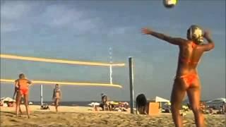 Brazil Sexy girls in bikinis play Sexiest beach Women's FootVolley Soccer surf Brazilian Babes