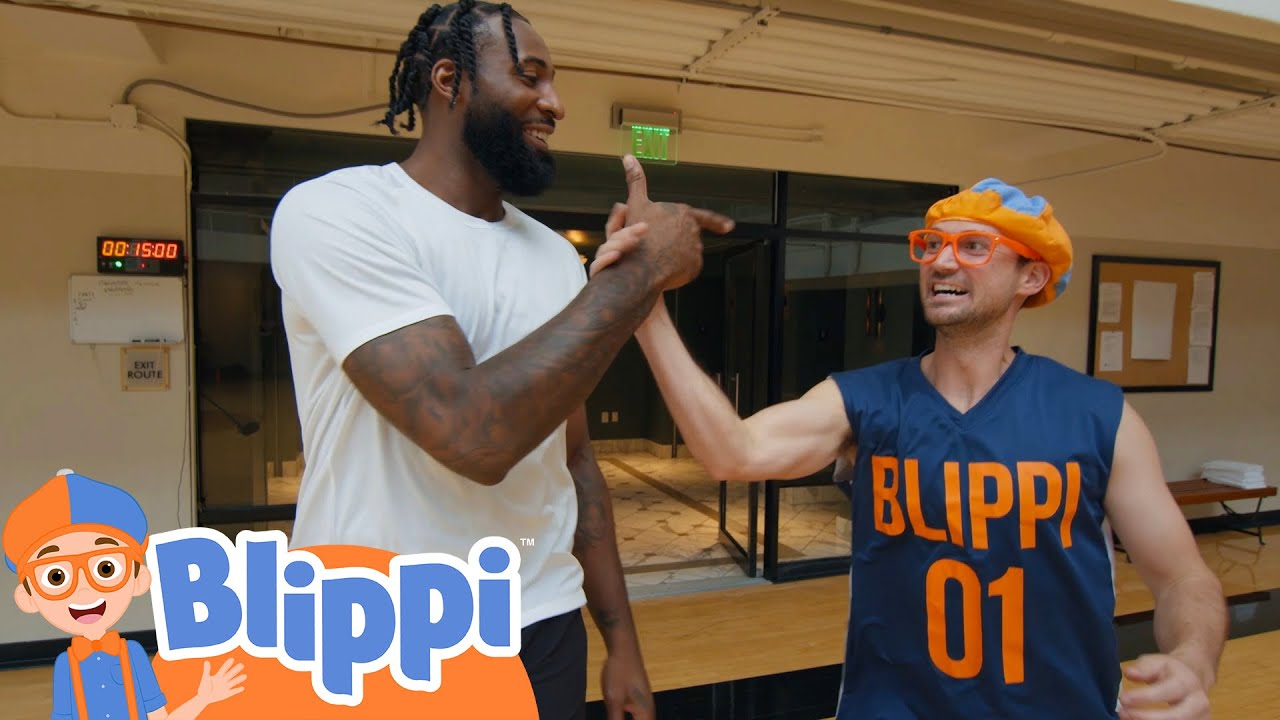 Blippi Plays Basketball With Andre Drummond!   Fun and Educational Videos For Kids