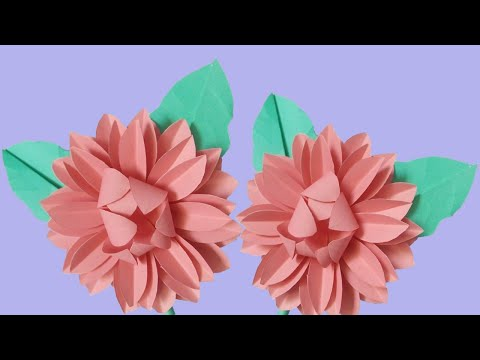 How To Make Dahlia From DIY Color Paper |Easy Paper Craft Idea| ZINAT Crafts