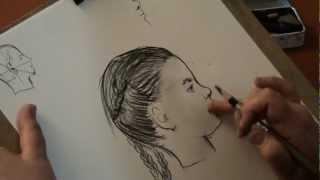 Рисуем девочку в профиль - How to draw girl face(Известный петербургский художник Марина Леонидовна Медовикова продолжает серию видеоуроков. В этом видео-..., 2012-04-30T18:09:13.000Z)