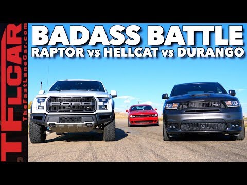 Almost Lost It! Raptor vs Durango SRT vs Hellcat Drag Race