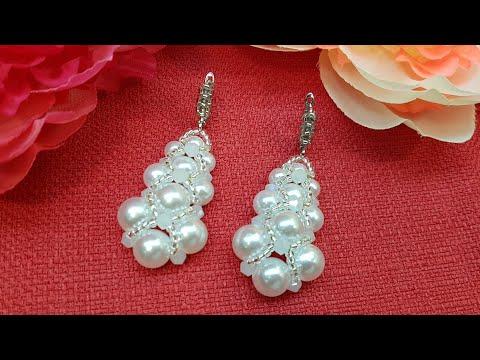 Beaded earrings/Pearl earrings/Серьги из бусин и бисера/Серьги своими руками/Жемчужные серьги